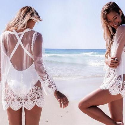 Solid Color Embroidery Lace Beach T..