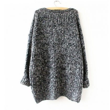 Oversized Knitted Crewneck Casual P..