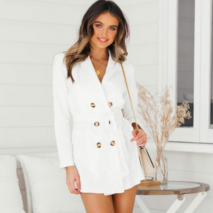 Fashion Sexy Long-Sleeved White Tre..