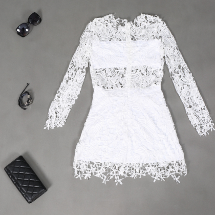 Long-sleeved round neck white lace ..