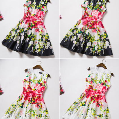 Fashion printed sleeveless vest dre..