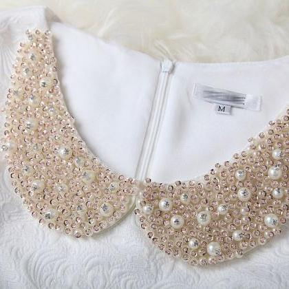Sweet White Shining Beading Party D..