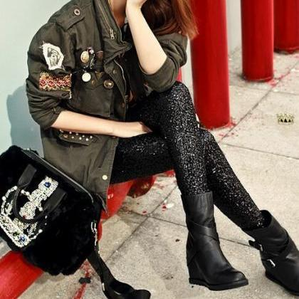 Gold Sequined Pants Fashion VG01