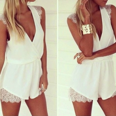 Deep V Neck Sexy White Lace And Chi..