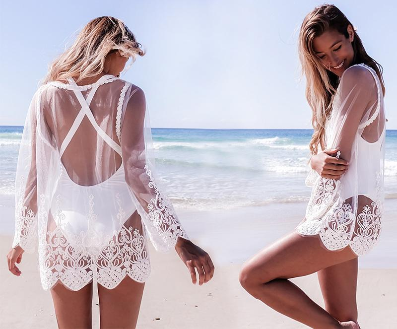 Solid Color Embroidery Lace Beach Top