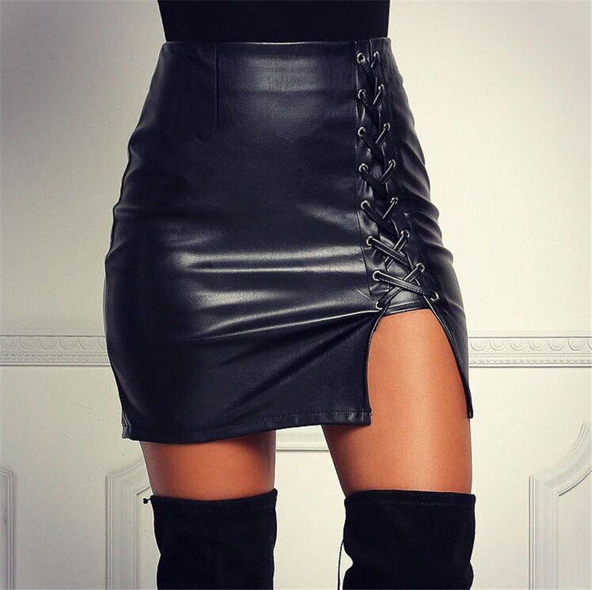 Lace-Up Faux Leather High Rise Short Pencil Skirt