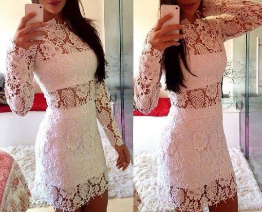 Long-sleeved round neck white lace dress VC30719MN