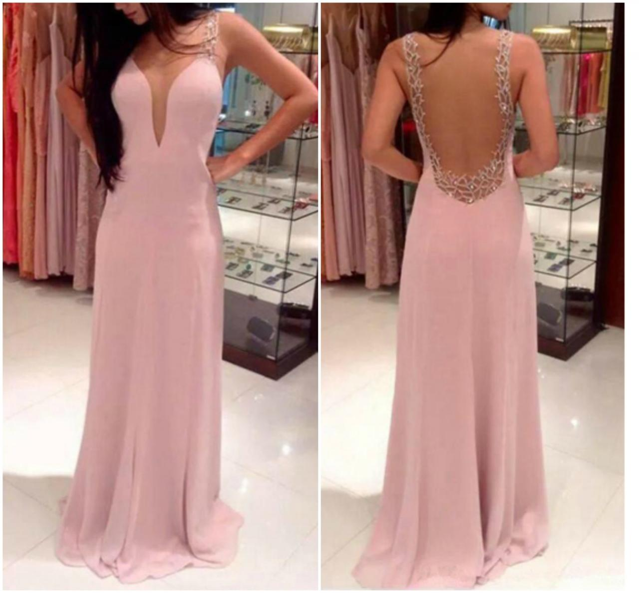 Pink Sleeveless Plunging V A-line Long Prom Dress, Evening Dress ...
