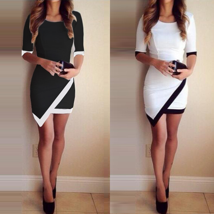 White Black Patchwork Elegant Dresses Bodycon Pencil Short Mini