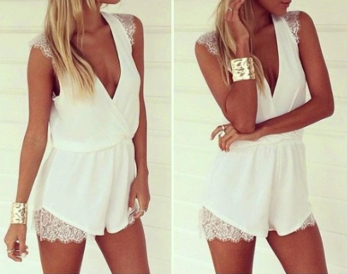 Deep V Neck Sexy White Lace And Chiffon One Piece Jumpsuit VG6705MN