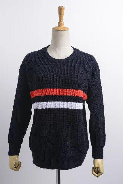 Knitted Crew Neck Long Cuffed Sleeves Sweater Featuring Stripes