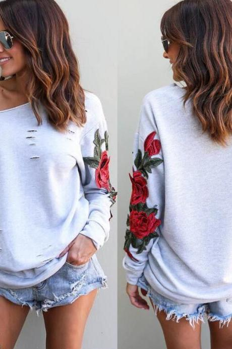 Sexy Long Sleeve Loose Embroidered Sweater