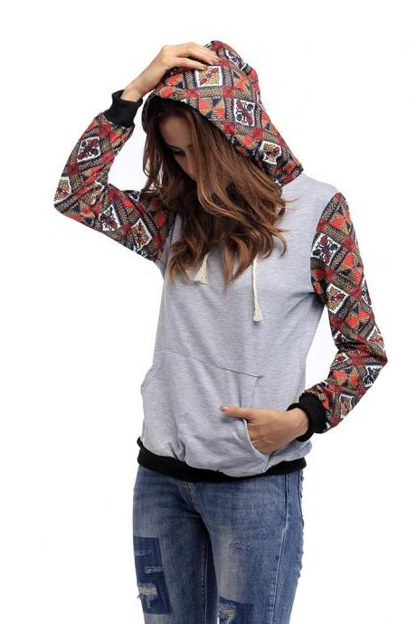Women'S Plaid Long-Sleeved Hooded Sweater