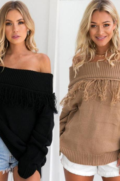 Autumn and winter fashion one word shoulder color pure tassel loose sweater long sleeves women