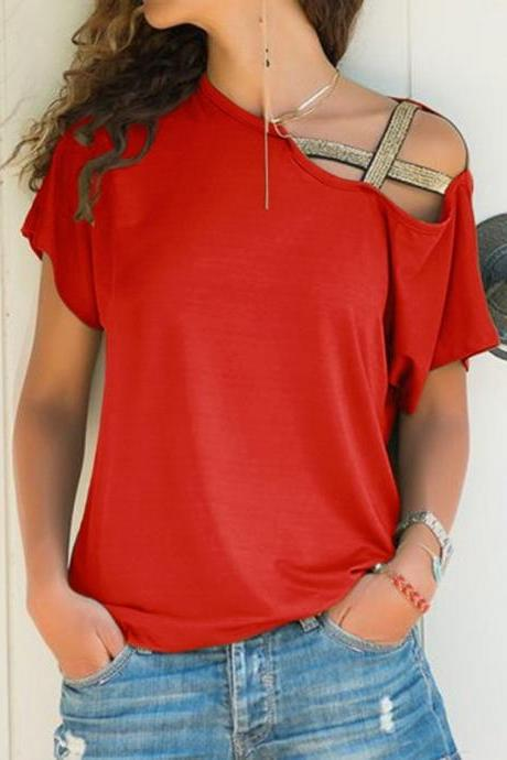Women'S Irregular Short-Sleeved T-Shirt