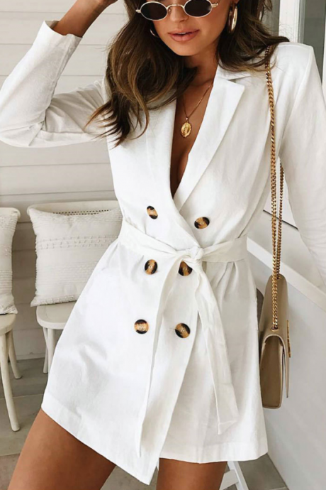 Fashion Sexy Long-Sleeved White Trench Coat