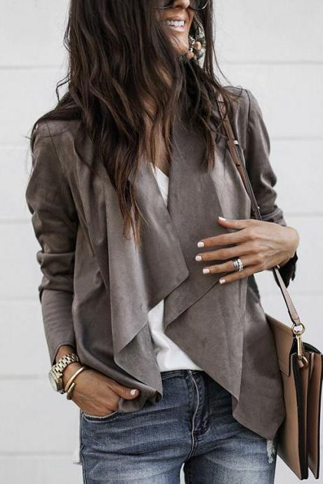Fashion Irregular Long Sleeve Cardigan Coat