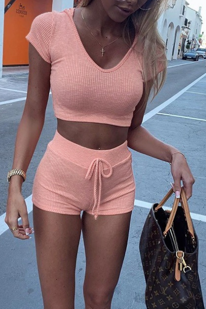 Fashion Solid Color Hooded Short-Sleeved Suit
