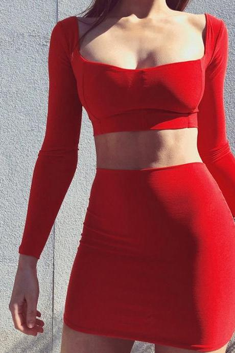 Tight-Fitting Long Sleeves Sexy Backless Two-Piece Suit