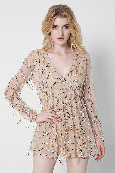 Sexy V-Neck Long-Sleeved Sequined Dress JHG21801SD