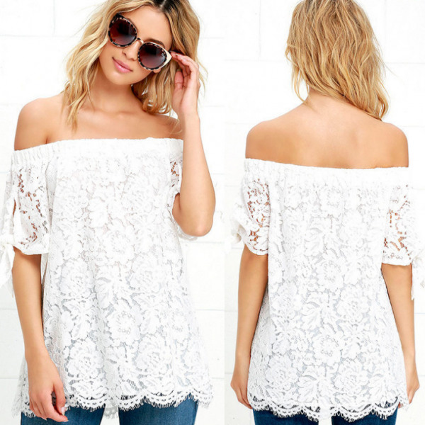 Sexy White Lace Blouse