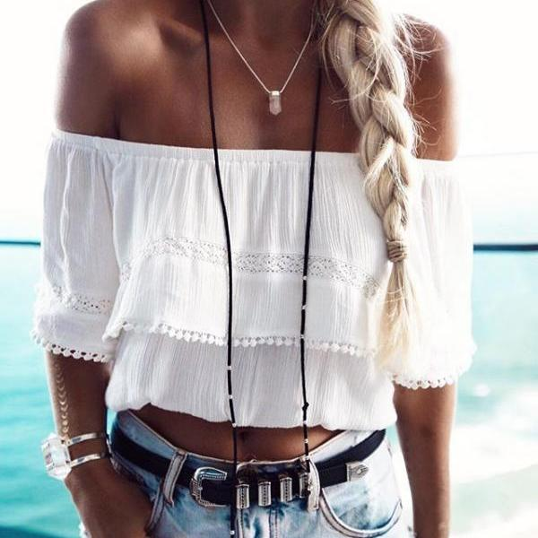 White Chiffon Off-The-Shoulder Cropped Top Featuring Pom-Pom Trimmed