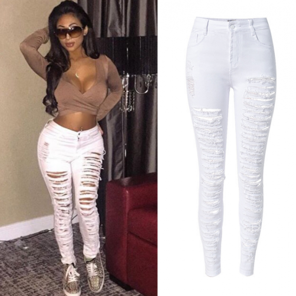 White Heavily Distressed High-Waisted Skinny Jeans