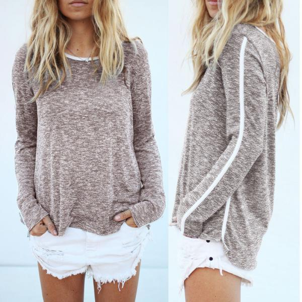 Round Neck Loose Long-Sleeved T-Shirt