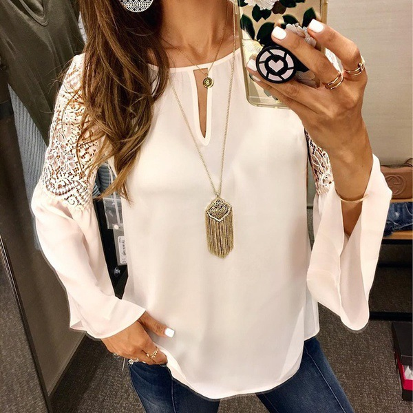 Sexy Lace Stitching Long Sleeve Chiffon Shirt