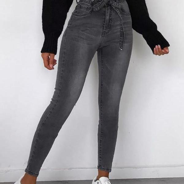 Casual Solid Color Fashion Paperbag High Waist Jeans