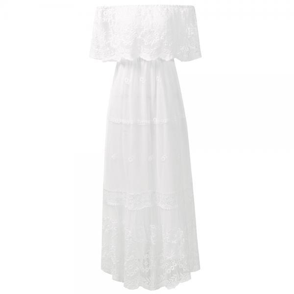 Elegant White High Waist Open Back One-Shoulder Lace Dress