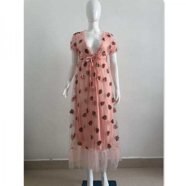 V-Neck Short Sleeve Women'S High Waist Strawberry Dress