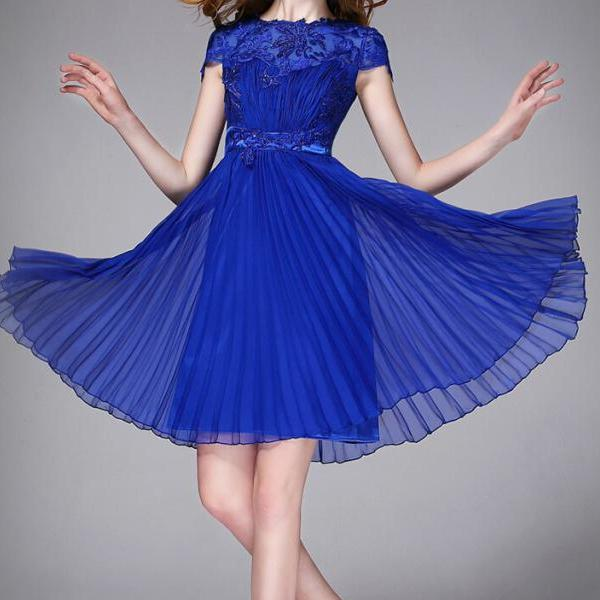 Round neck beaded short sleeve princess dress VC30504MN