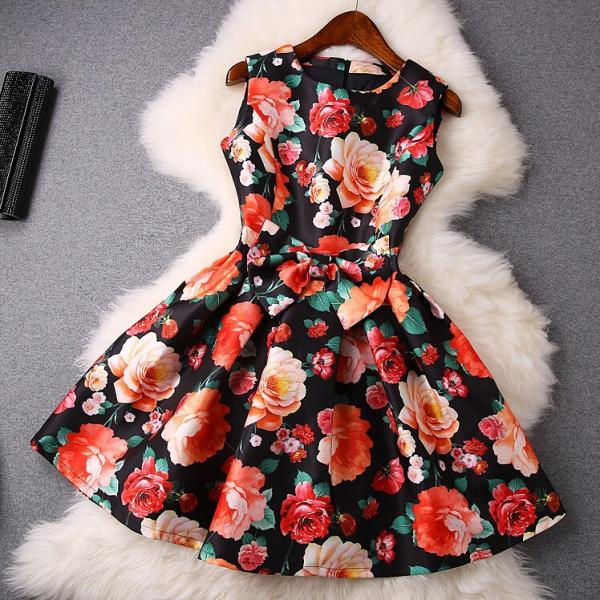 New safflower printed round neck bow dress VC30506MN