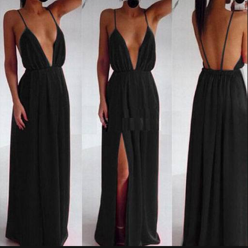 Sexy V Neck Spaghetti Strap Long Dress