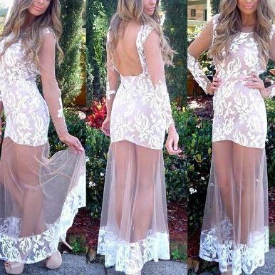 Fashion Round Neck Long-Sleeved Lace Dress VG02