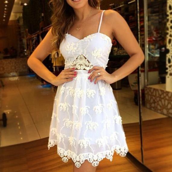 Suspenders Sexy White Lace Chiffon Dress VG41610MN