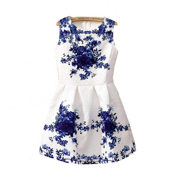 Floral Printed Dress With Pleated Waist VG41702MN