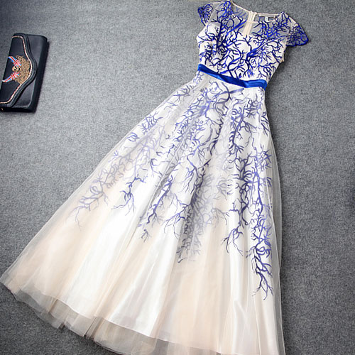 High Waist Embroidery Evening Dress Layered Ruffled Skirt VG41704MN