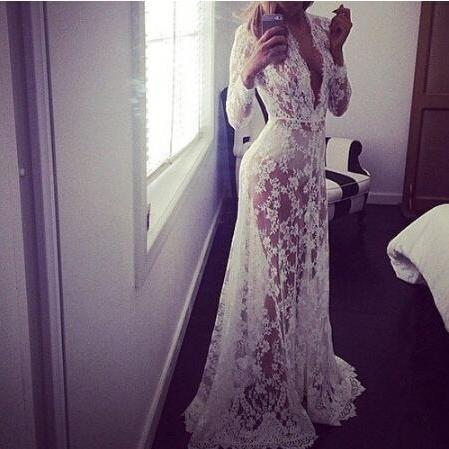 Elegant round neck white lace dress VG51903MN