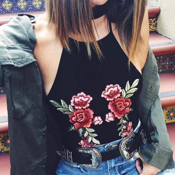 Black Halter Neck Top Featuring Floral Embroidery